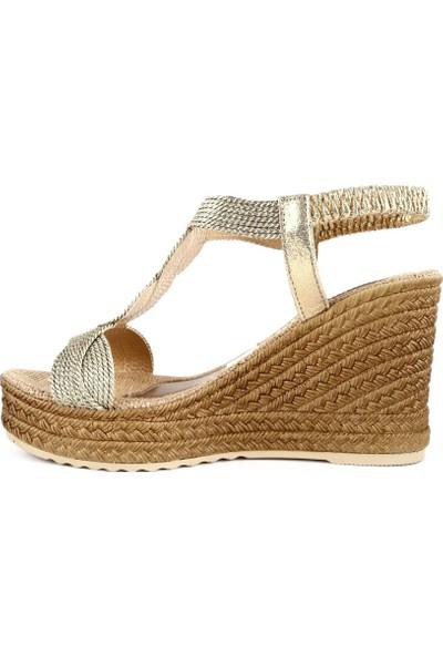 DGN 1036 Kadın Dolgu Taban Örgülü Arkası Lastikli Sandalet