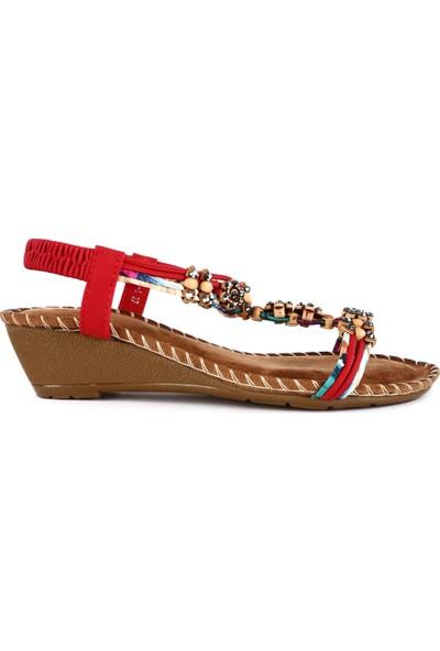 Guja 20Y151-1 Kadın T-Strap Dolgu Topuk Sandalet
