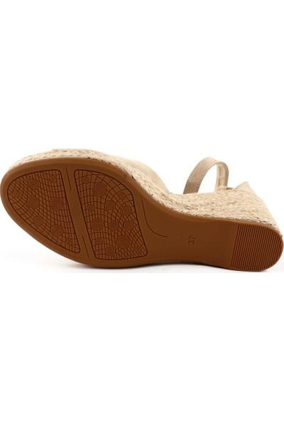 DGN 266-707 Kadın Hasır Dolgu Taban Bilekten Bağlı Burnu Açık Sandalet 20Y