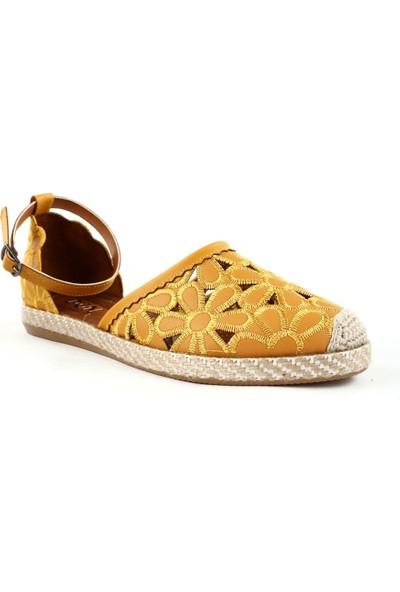 DGN 927 Kadın Çiçek Dokumalı Bilekten Espadril Sandalet 20Y