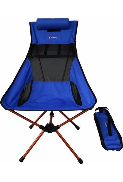 Famedall Carry Portatif Kamp Sandalyesi Mavı