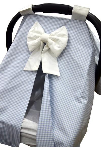 Bera Baby Mavi Ekose Desen Puset Örtüsü + Çarşafı