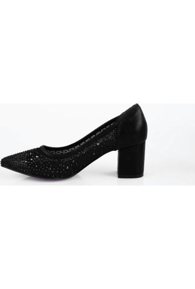 DGN 147 Kadın Sivri Burun Kristal Taşlı Yanı Transparan Topuklu Ayakkabı 20Y