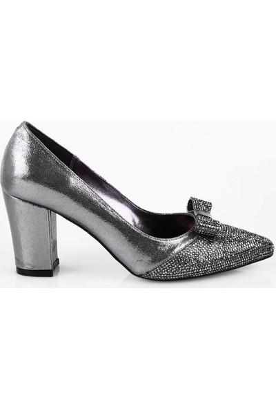 DGN 188 Kadın Silver Taşlı Sivri Burun Tokalı Topuklu Ayakkabı 20Y