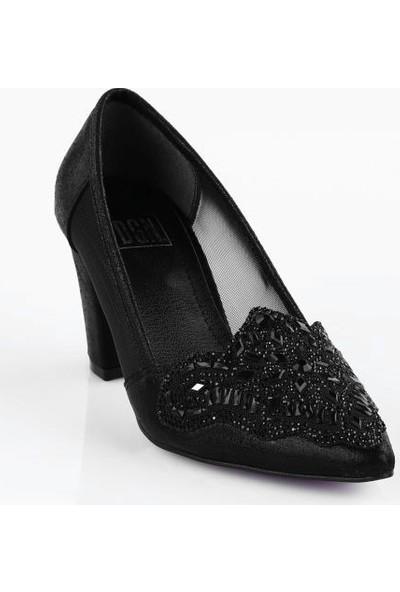 DGN 65-1 Kadın Taşlı Sivri Burun Yanı Transparan Uzun Topuklu Ayakkabı 20Y