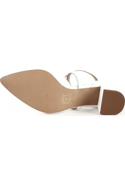 DGN 940 Sivri Burun Parmak Dekolteli Çapraz Bilekten Bağlı Topuklu Ayakkabı 20Y
