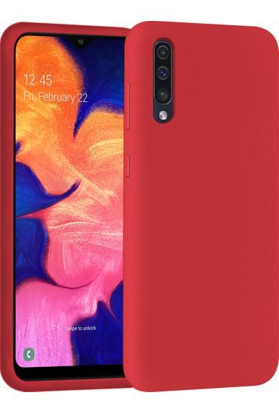 Mobilteam Samsung Galaxy A70 Kılıf İçi Kadife Lansman Kapak Kırmızı