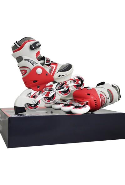 ToyseToys İnline Skates Alüminyum Ayarlanabilir Çocuk Pateni Kırmızı 33-36 Numara
