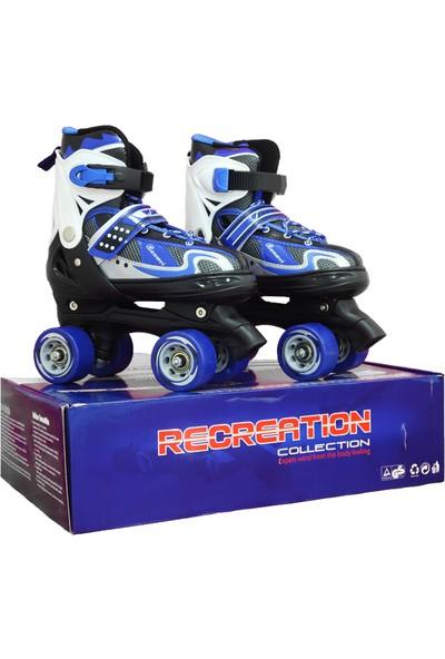 ToyseToys 4 Tekerlekli Quad Paten Ayarlanabilir Çocuk Pateni Mavi-Beyaz 35-38 Numara