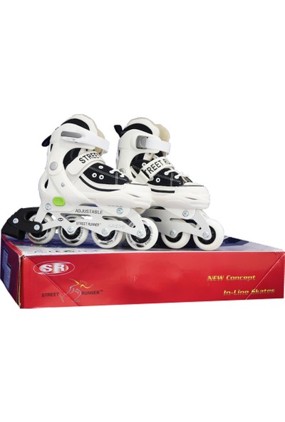 Street Runner Inline Skates Alüminyum Ayarlanabilir Çocuk Pateni Siyah-Beyaz 27-30 Numara