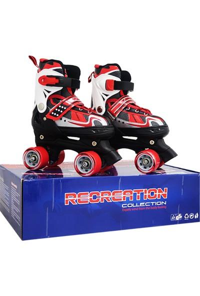 ToyseToys 4 Tekerlekli Quad Paten Ayarlanabilir Çocuk Pateni Kırmızı-Beyaz 31-34 Numara
