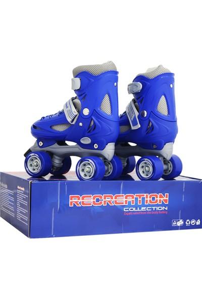 ToyseToys 4 Tekerlekli Quad Paten Ayarlanabilir Çocuk Pateni Mavi-Gri 31-34 Numara