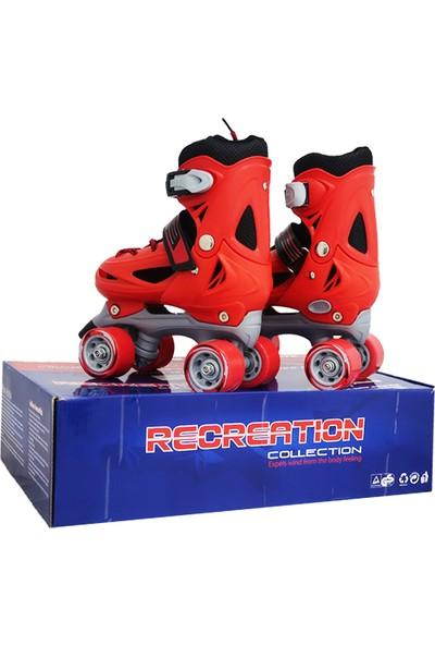ToyseToys 4 Tekerlekli Quad Paten Ayarlanabilir Çocuk Pateni Kırmızı-Gri 31-34 Numara
