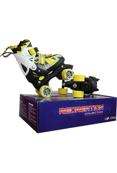 ToyseToys 4 Tekerlekli Quad Paten Ayarlanabilir Çocuk Pateni Sarı-Beyaz 31-34 Numara