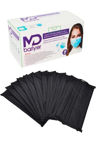 Md Bariyer 3 Katlı Tek Kullanımlık Burun Telli Full Ultrasonic Cerrahi Maske 50 Adet 2'li