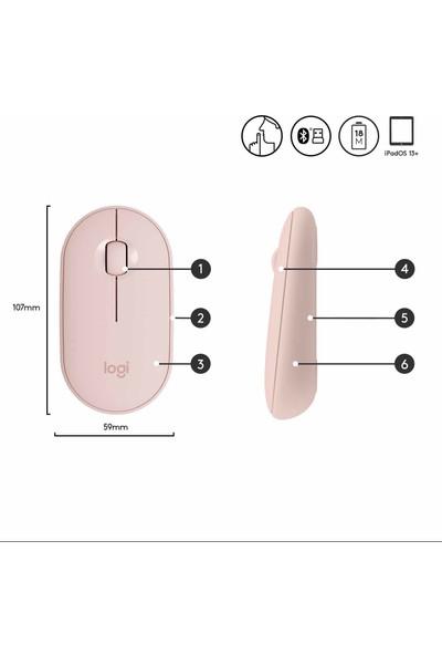 Logitech M350 Pebble Kablosuz Mouse-Gül