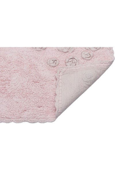 Enn Pembe Banyo Paspası El Örgüsü %100 Pamuk Banyo Halısı Yıkanabilir Ithal Paspas