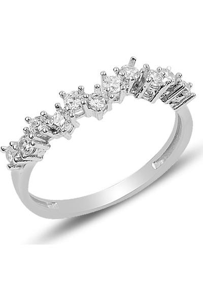 Barış Takı 925 Ayar Gümüş Pırlanta Montür Su Yolu Bayan Düğün Seti Kolye,bileklik,küpe,yüzük