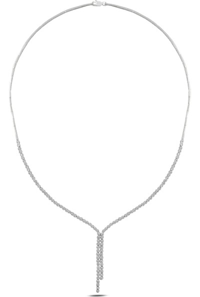 Barış Takı 925 Ayar Gümüş Salkım 2 Sıra Pırlanta Montür Su Yolu Düğün Seti Kolye,bileklik,küpe,yüzük