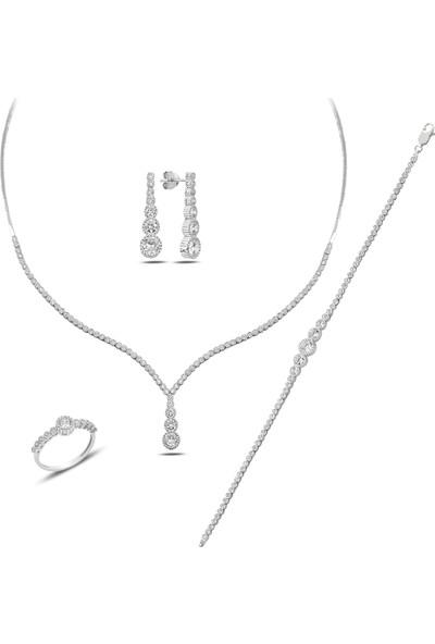 Barış Takı 925 Ayar Gümüş Salkım Pırlanta Montür Su Yolu Bayan Düğün Seti Kolye,bileklik,küpe,yüzük