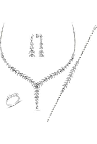 Barış Takı 925 Ayar Gümüş Salkım Pırlanta Montür 5 Taş Su Yolu Düğün Seti Kolye,bileklik,küpe,yüzük