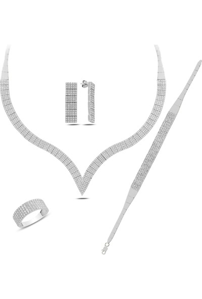 Barış Takı 925 Ayar Gümüş 5 Sıra Su Yolu Bayan Düğün, Özel Gün Seti Kolye,bileklik,küpe,yüzük