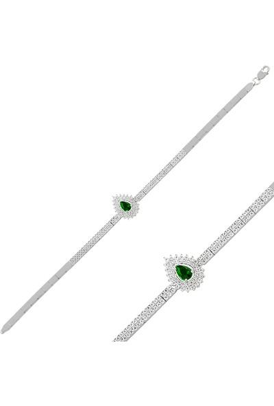 Barış Takı 925 Ayar Gümüş 2 Sıra Hürrem Su Yolu Bayan Düğün, Özel Gün Seti Kolye,bileklik,küpe,yüzük