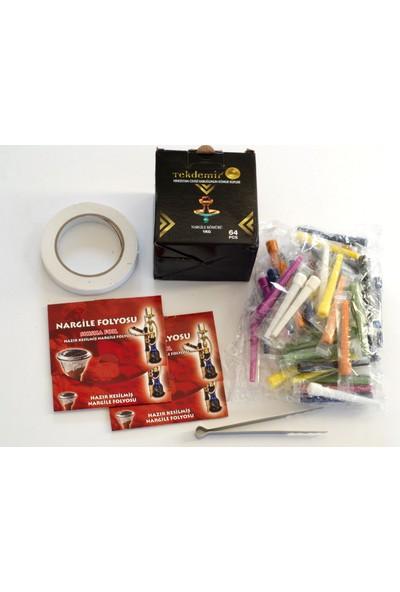 Akdise Nargile Paket 1 kg Nargile Kömürü-Kalem Sipsi-2 Paket Kesilmiş Folyo-Bant-Kömür Maşası