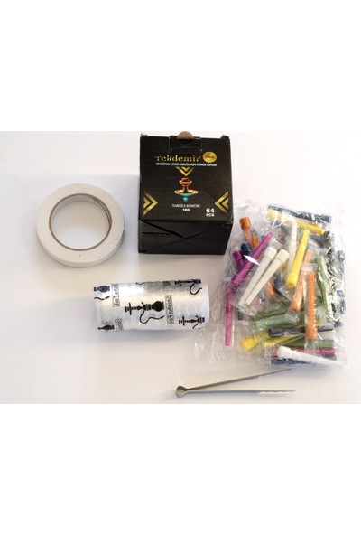 Akdise Nargile Paket 1 kg Nargile Kömürü-Rulo Folyo-Kalem Sipsi-Kömür Maşası-Nargile Bantı