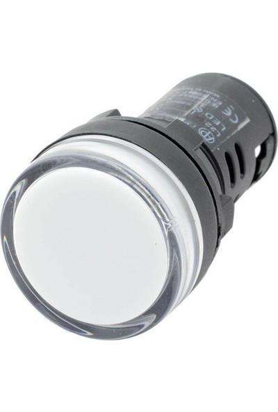 Mutlusan 22 mm Ledli Sinyal Lambası Beyaz 220V