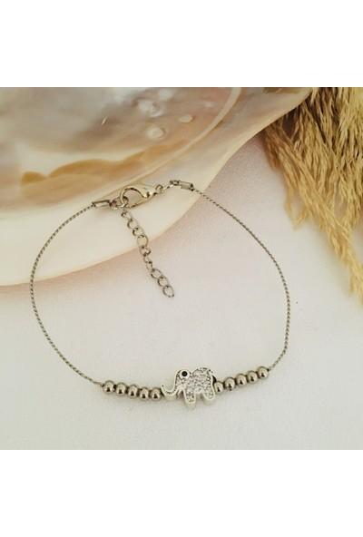 Pearl Beads Silver Zirkon Taşlı Bileklik