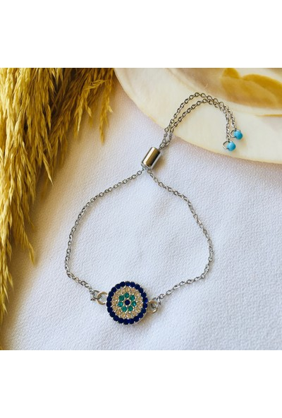 Pearl Beads Zirkon Taşlı Silver Bileklik
