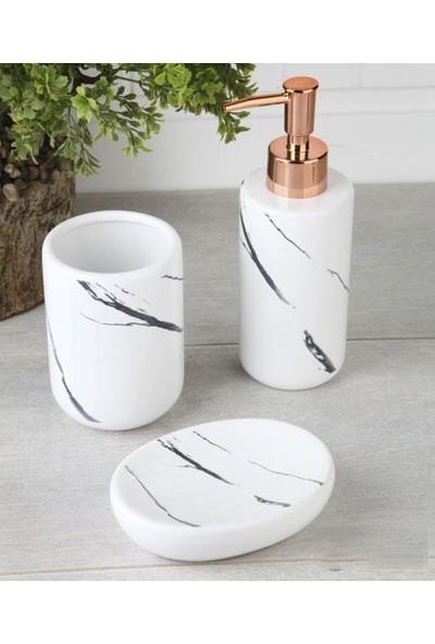 Evim Tatlı Evim Porselen Banyo Seti Elizze 3 Parça Beyaz