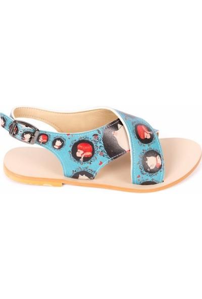 Yrzsarashop Kedi ve Kız Desenli Sandalet 38