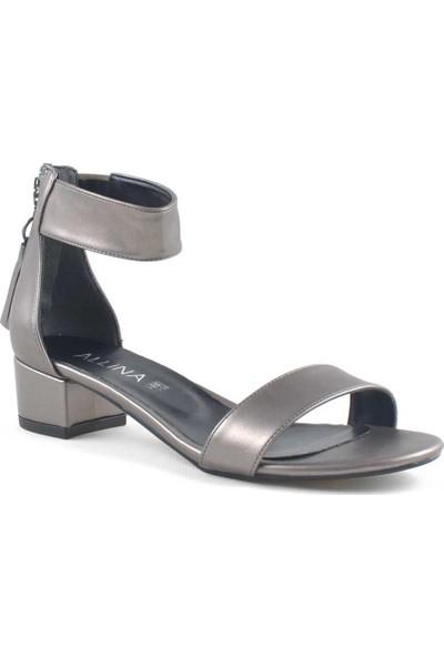 Allina Füme Bilek Bantlı Fermuarlı Alçak Topuk Kadın Ayakkabı