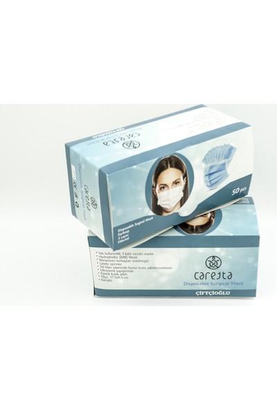 Caretta Lastikli Burun Telli Ultrasonic Gövde 3 Katlı Cerrahi Maske 100 Adet
