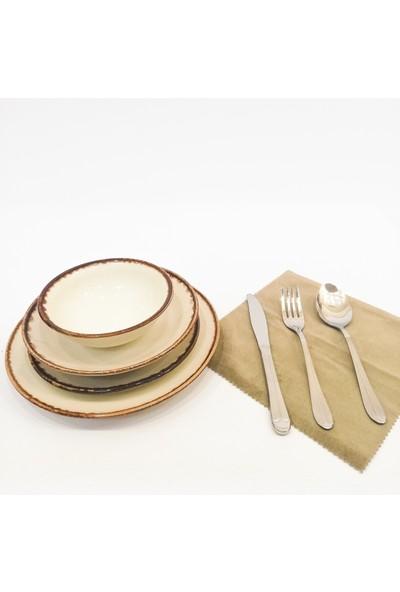 Tulû Porselen Akıtma File 24 Parça Porselen Yemek Takımı