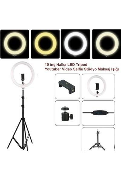 "Inovaxis Youtuber LED Tripod Işıklı Telefon Tutucu Makyaj Işığı Ring Light 10"" + 2,1 m Tripod"