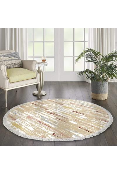 Ahsen Halı Oval-Yuvarlak Taş Desen Renkli Kaymaz Jel Taban Yıkanabilir Halı 180x140 cm
