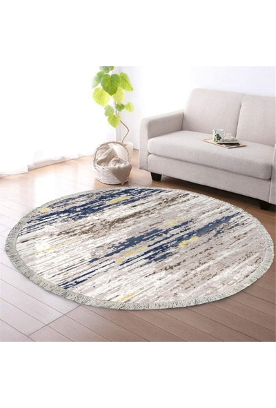 Ahsen Halı Oval-Yuvarlak Sarı-Lacivert Renkli Kaymaz Jel Taban Yıkanabilir Halı 80x80 cm