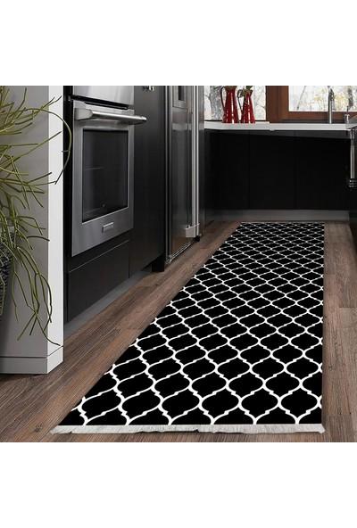 Ahsen Halı Damla Desen Siyah-Beyaz Renkli Kaymaz Jel Taban Yıkanabilir Halı 120x140 cm