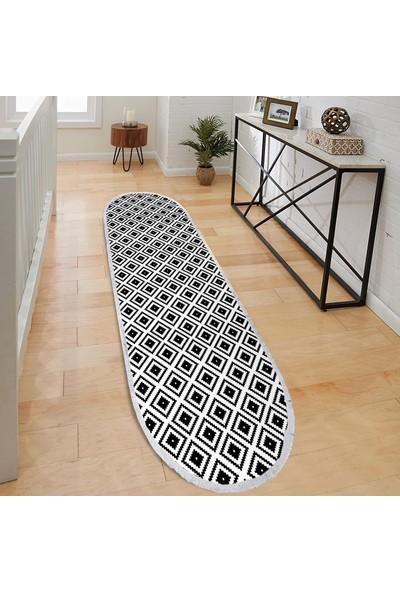 Ahsen Halı Oval-Yuvarlak Piramit Desen Siyah-Beyaz Renkli Kaymaz Jel Taban Yıkanabilir Halı 180x230 cm