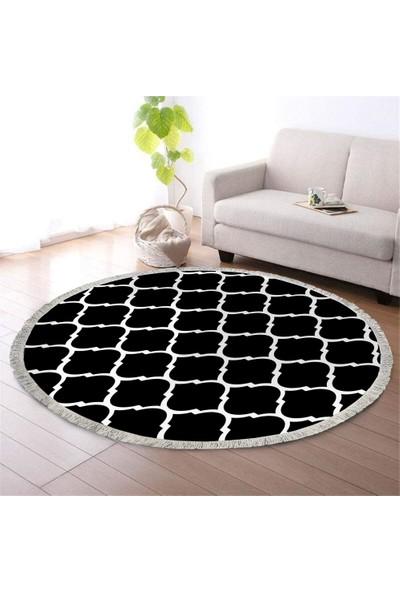 Ahsen Halı Oval-Yuvarlak Damla Desen Siyah-Beyaz Renkli Kaymaz Jel Taban Yıkanabilir Halı 80x80 cm