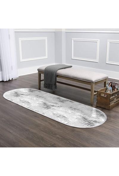 Ahsen Halı Oval-Yuvarlak Gri-Krem Kaymaz Jel Taban Yıkanabilir Halı 140x120 cm