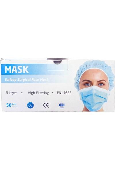 Mask 3 Katlı Ultrasonik Telli Cerrahi Maske - 2 Kutu 100 Adet