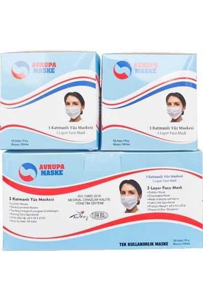 Avrupa Maske 3 Katlı Telli Cerrahi Maske - Beyaz Renk 2kutu 100 Adet