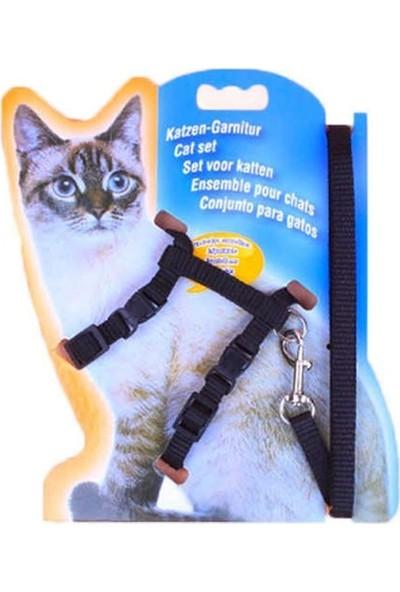 Katzen Kedi Göğüs Tasması ve Gezdirme Ipi Siyah