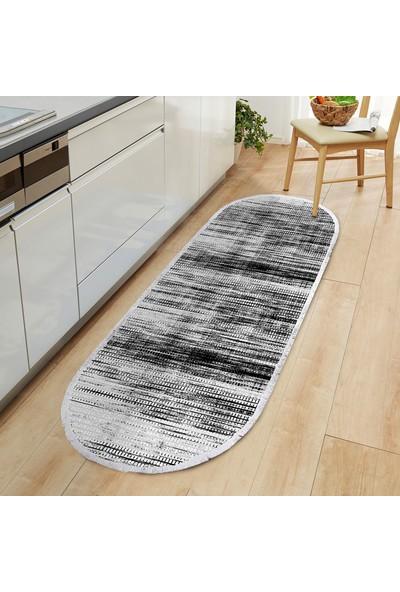 Ahsen Halı Oval-Yuvarlak Siyah-Beyaz Kaymaz Jel Taban Yıkanabilir Halı 180x80 cm