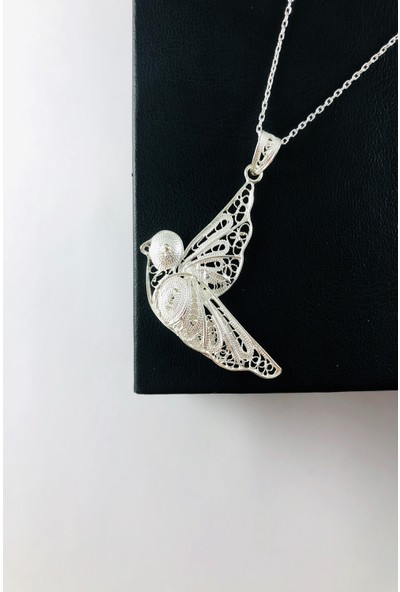 Sungurbey Gümüş Dünyası Güvercin Model El Sanatı Telkari Gümüş Bayan Kolye Ucu