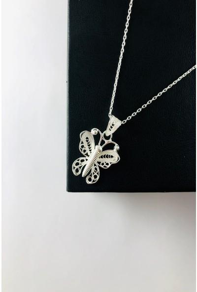 Sungurbey Gümüş Dünyası Kelebek Model El Sanatı Telkari Gümüş Bayan Kolye Ucu